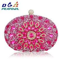 501160c1ae Di lusso Della Frizione catena borsa della donna di nozze di diamante di  cristallo Floreale blu