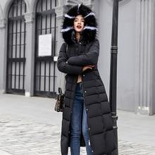 Новая повседневная зимняя женская куртка пальто 2018 Длинная зимняя куртка женский меховой воротник парки женские тонкие зимние теплые пальто женские 62803