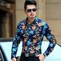 2016 Nueva Flor de la Impresión Floral Camisas de Manga Larga Camisa de Los Hombres Vestido de Los Hombres Camisas Ocasionales camisa masculina