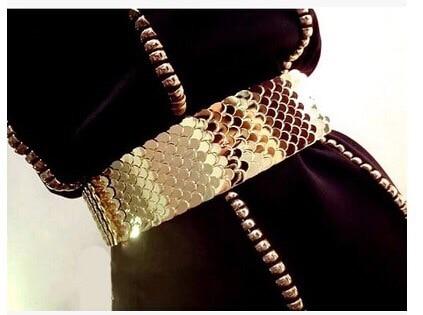 Women 's Gold Belt And Silver Wide Elastic Women Gold Belt Metal Fish Skin Keeper Brand Belts For Women Cinto Feminino Luxury