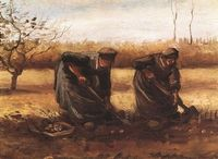 Farm scenery pictures Van Gogh oil painting Two peasant women digging potatoes canvas wall painting for home deocration No Frame