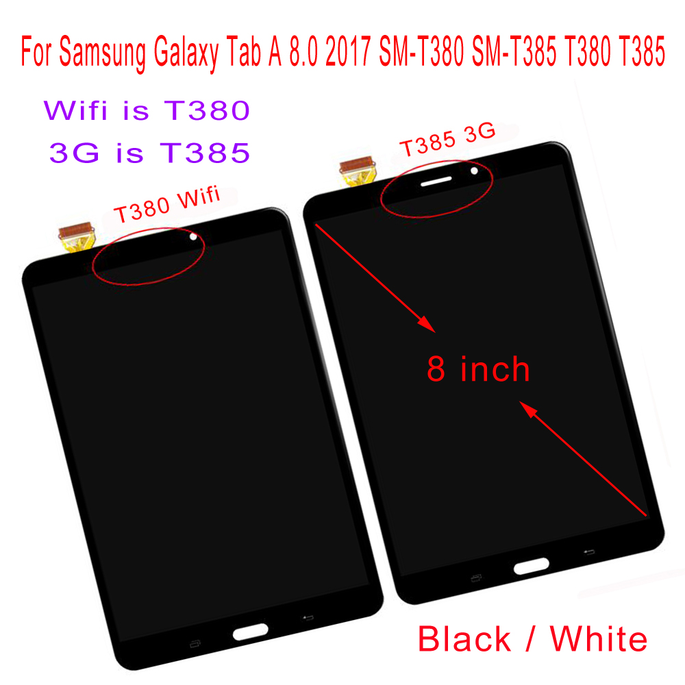 """STARDE LCD for Samsung Galaxy Tab A 2017 8.0 SM T385 T385 3G / SM T380 T380 Wifi LCD Display Touch Screen Digitizer Assembly 8""""