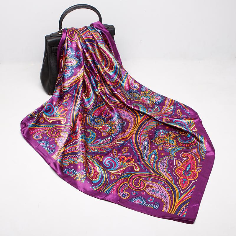 Fashion Scarves For Women Print Silk Satin Head Scarf Female 90cmx90cm Luxury Brand Square Shawl Large Hijab Scarfs For Ladies