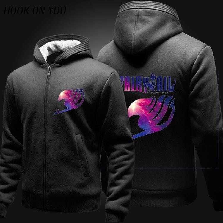 2016 hot sales fairy tail hoddies with zipper cashmere coat Add wool zipper hooded fleece