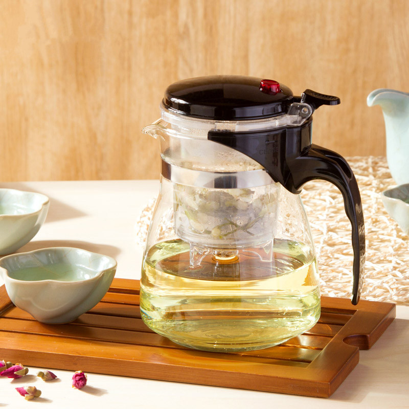 High quality Glass TeaPot kettle Coffee Gongfu Teaset Press AUTO-OPEN Art green tea Cup with Infuser Strainer Tea accessories