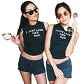 Best Friends T Shirt Summer 2017 Newest I Just Look Like Her Printed Crop Top Sexy O-Neck Sleeveless Black T-Shirt For Women