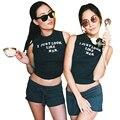 Mejores Amigos T Shirt Verano 2017 Más Nuevo Que Acaba de Ver Como su Impreso Crop Top Sexy Sin Mangas Del O-cuello Negro Camiseta Para Las Mujeres