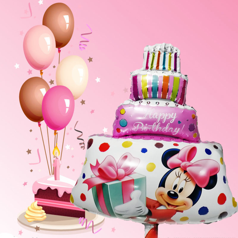 Prime 1Pcs Large Size Pink Minnie Mickey Party Balloons Big Birthday Personalised Birthday Cards Veneteletsinfo