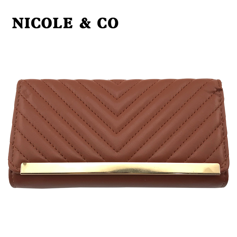NICOLE & CONEW Women Wallets PU Leather Long Style Card Holder Money PurseFashion Female  Hand Phone Bag