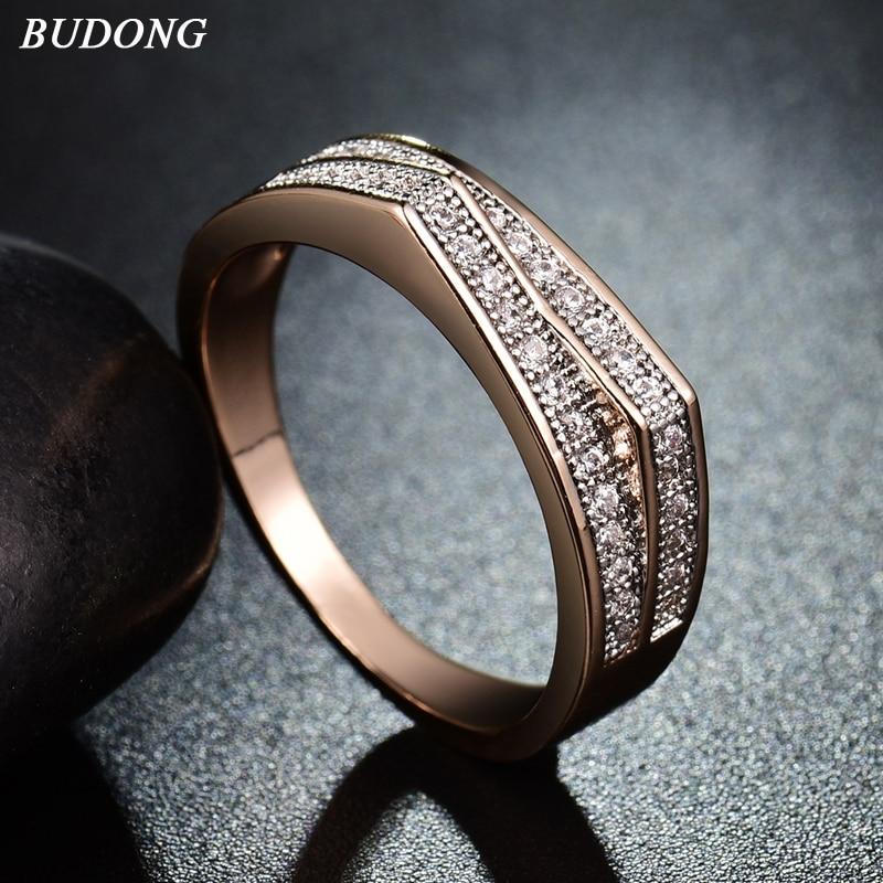 Budong الأزياء هدية عيد الحب خاتم الذهب كريستال مكعب الزركون خواتم الخطبة للنساء مجوهرات عيد الأم XUR233