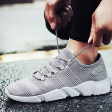 Fashion Summer Men Vulcanize Shoes Large Size 44 Breathable Casual Sports Male Sneakers Air Mesh Trainers Lace-up Flat Shoes
