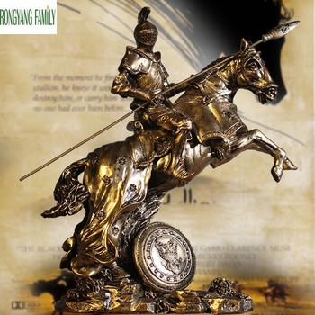 Ancient Roman Knights Sculpture Middle Ages European Resin Character Armor Warrior Statue Home Desktop Decoration Figurine Art