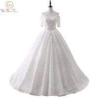 Country Western Wedding Dresses vestido de noiva baratoBall Gown Half Sleeve Lace Wedding Dress 2019 shop online china In Stock