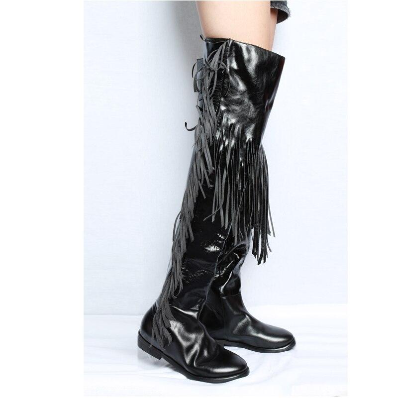 Bottes Noir Femmes Conception Chaussures Romain Couleur Pic Boucle Genou Sur Longues Gland Élégant Chic As Talon Bas Bottines Ceinture Embelli Étoiles vZxnw0It