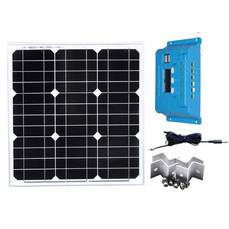 Pv Panel Kit 12v 40w Solar Charge Controller 12v/24v 10A Led Waterproof Solar Battery Charger Caravan Car Camping RV Outdoor kit solar painel fotovoltaico 12v 40w solar charging controller 10a 12v 24v pv cable z bracket boat yacht marine caravan camping