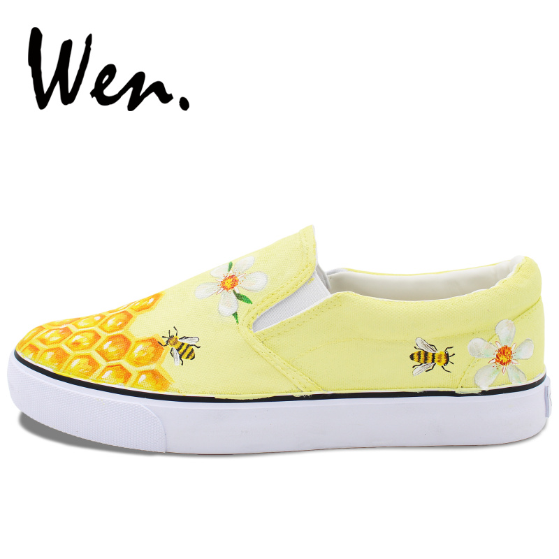 Wen Original Design Daisy Floral Honeycomb Bee Hand Painted Skateboard  Shoes Slip On Yellow Canvas Sneakers Girls Boys\u0027s Gifts