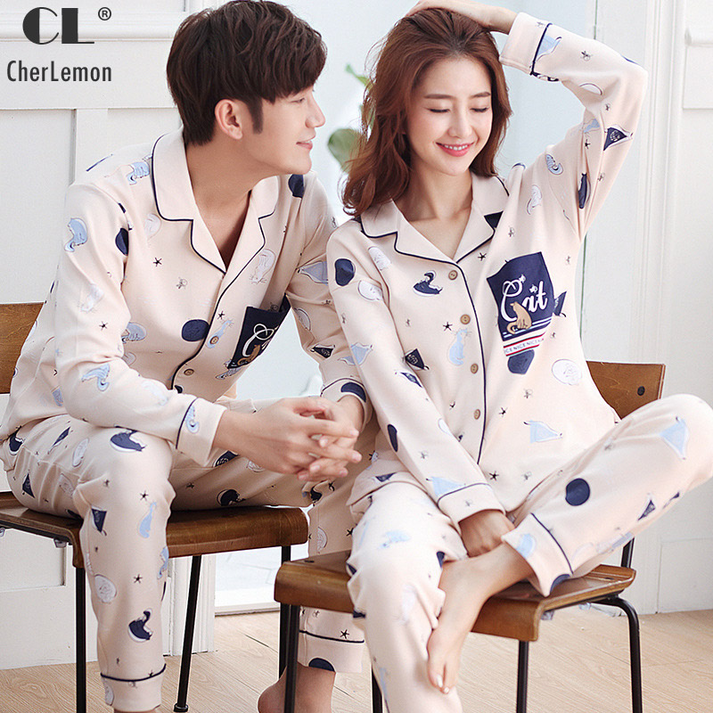 Cherlemon 2018 Spring Men and Women Long-Sleeved Printed Cotton Pajamas Couples Turn-Down Collar Button Front Homewear sets
