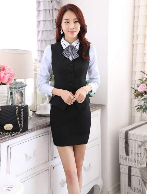 Online Shop Novelty Grey 2015 Spring Autumn Uniform Styles Business Work  Suits Vest + Skirt Ladies Office Outfits Blazers Sets Plus Size 4XL  2578820e79b2
