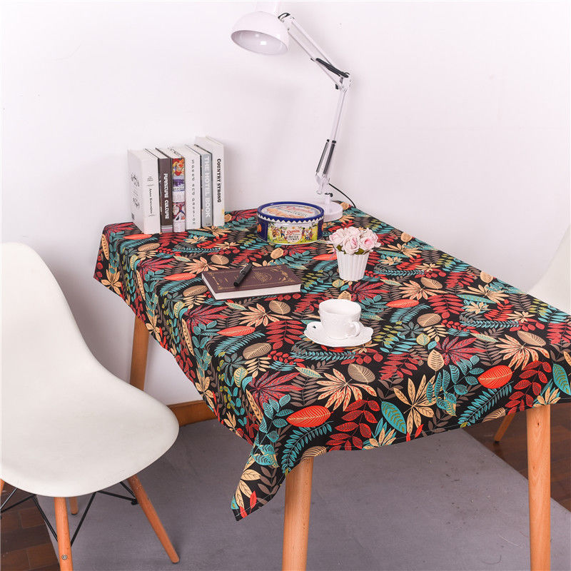 Fashion Leaves Print Cotton Linen Fabric Tablecloth Dining