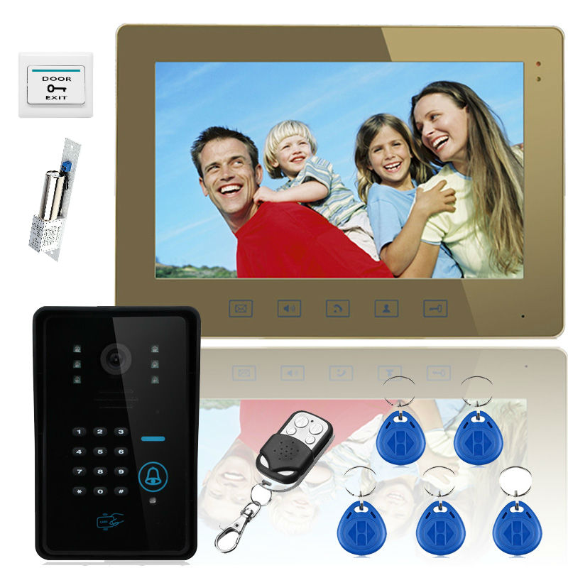 YobangSecurity Touch Key 10 Video Door Phone Intercom System 1 RFID Keypad Code Camera 1 Monitor With Electronic Door Lock