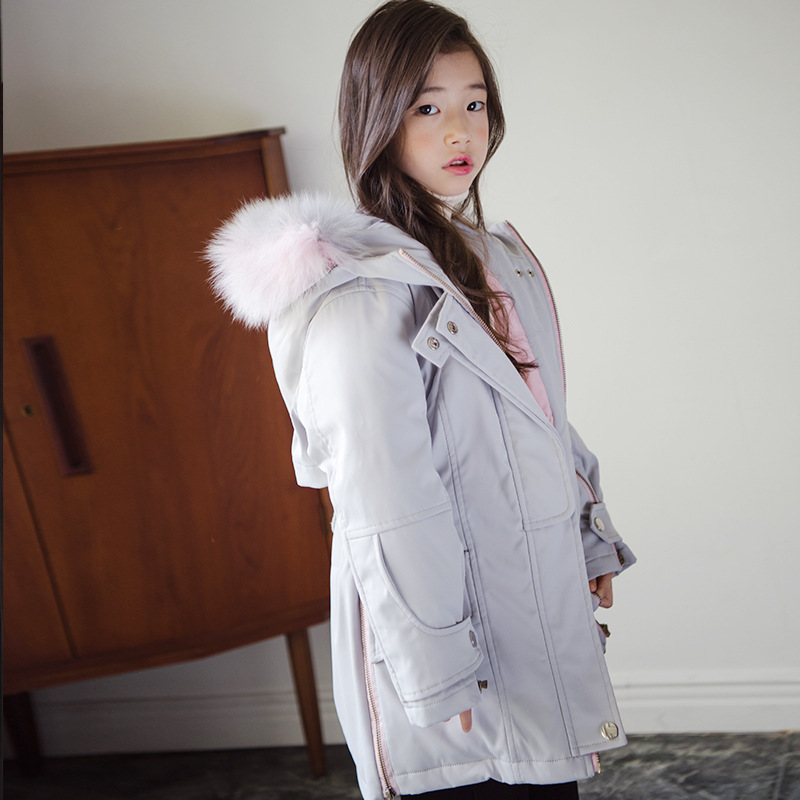 Korean kids clothes teenage girls winter cotton fur hooded coat clothing 2018 children solid padded jacket for girls 8 10 years 0 4 years old children girls jackets cotton autumn hooded windbreaker baby girls korean style solid color coat