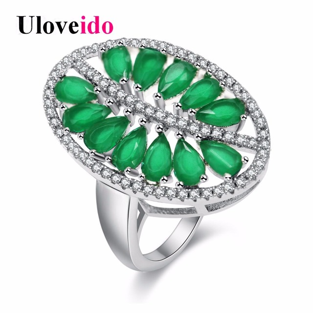 Uloveido Green Leaf Costume Jewelry Rings For Women Wedding Ring Female Jewellery S New Year Gifts