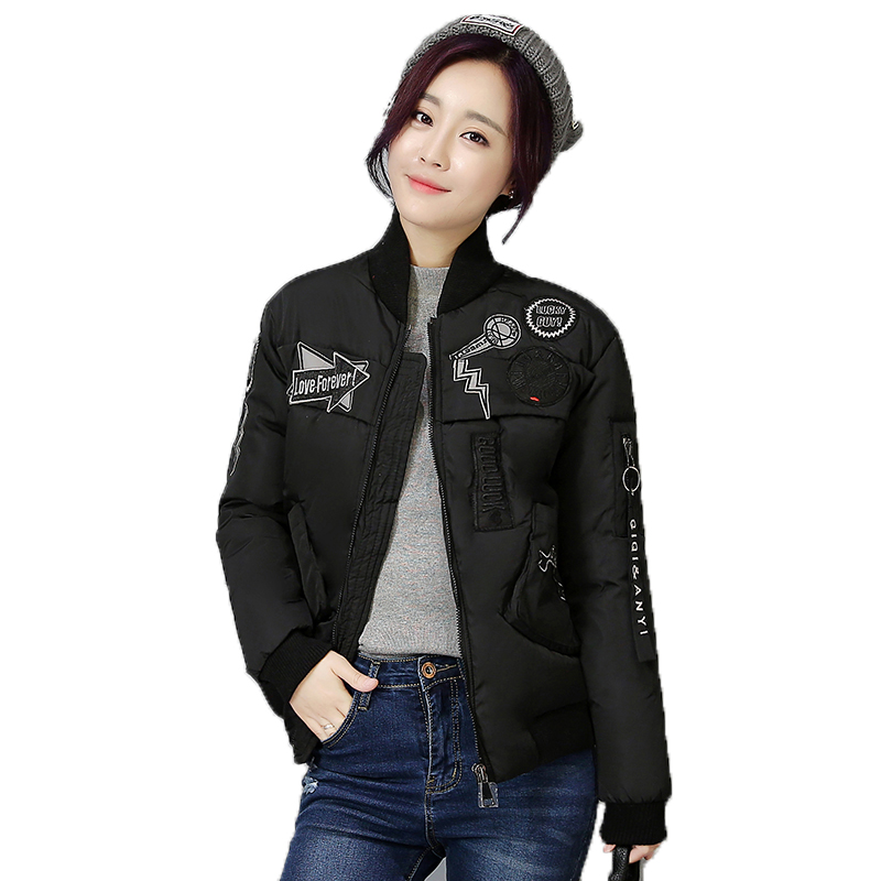 ФОТО 2016 new Korean jacket women short casual jacket fashion winter cotton-padded cotton coat stand collar patch design kp0839