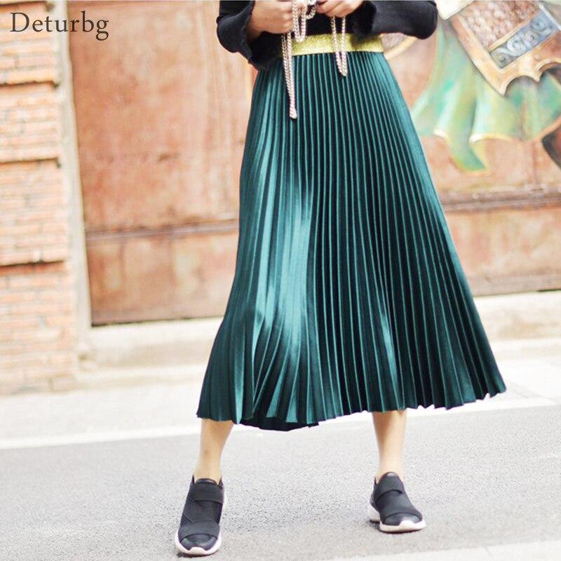 Women's Metal Color Pleated Midi Skirt Japanese Style Ladies Streetwear High Waist Velour Chic Skirts Saias 2019 Spring SK279