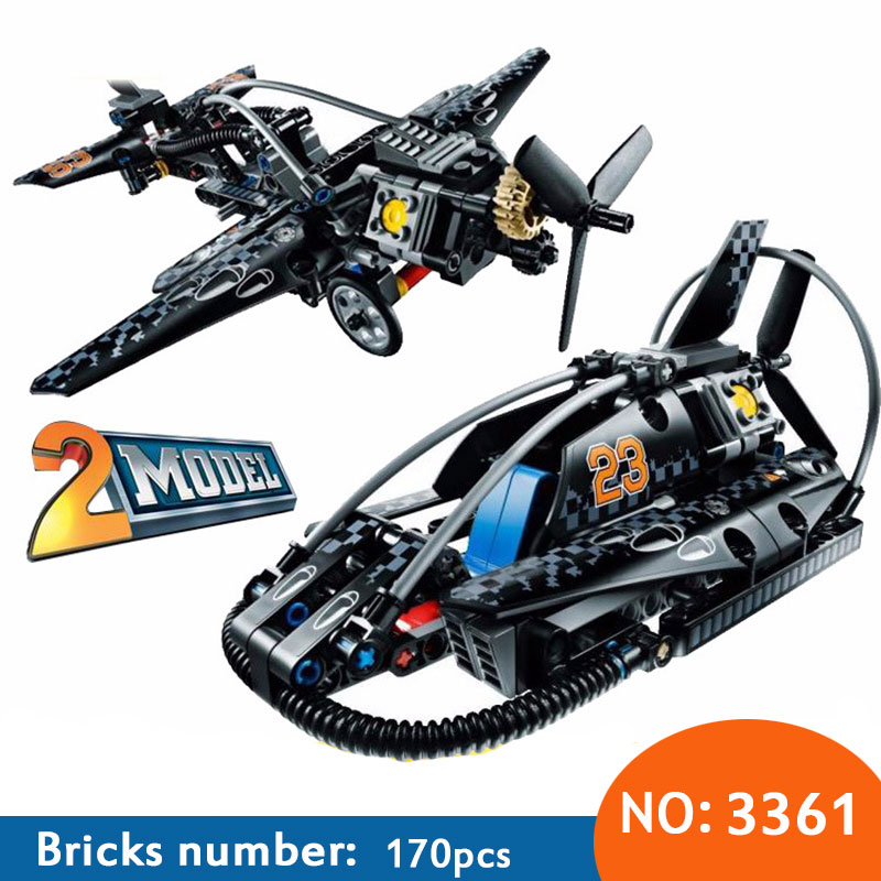 Decool 3361 City Architect 2 in 1 Hovercraft War aircraft Fighter Building Blocks Kids Toys for children Compatible 42002 decool 3117 city creator 3in1 vacation getaways building block 613pcs diy educational toys for children compatible legoe