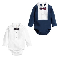 Long sleeves baby Boys Infant jumpsuit Summer baby clothing fashion gentleman bow triangle Romper Bebe Newborn Body Baby Clothes