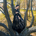 Free ship black lace  vintage fairy long dress medieval theme studio photo shooting dress princess Victorian dress