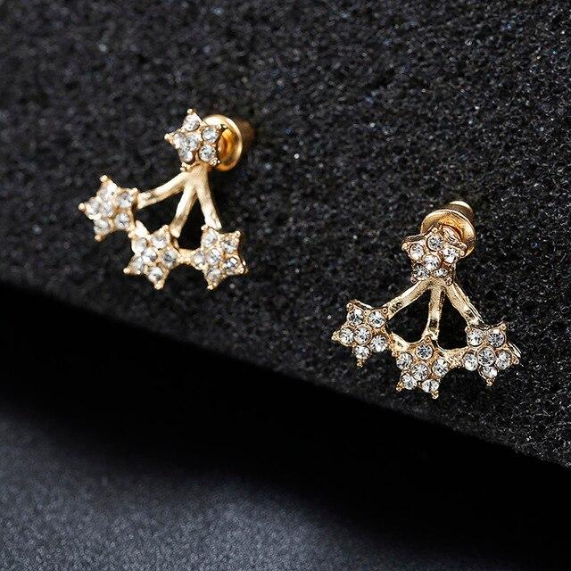 2018 Summer New Style Full Crystal Front Back Double Sided Stud Earrings For Women Fashion Ear Jewelry Piercing Earings