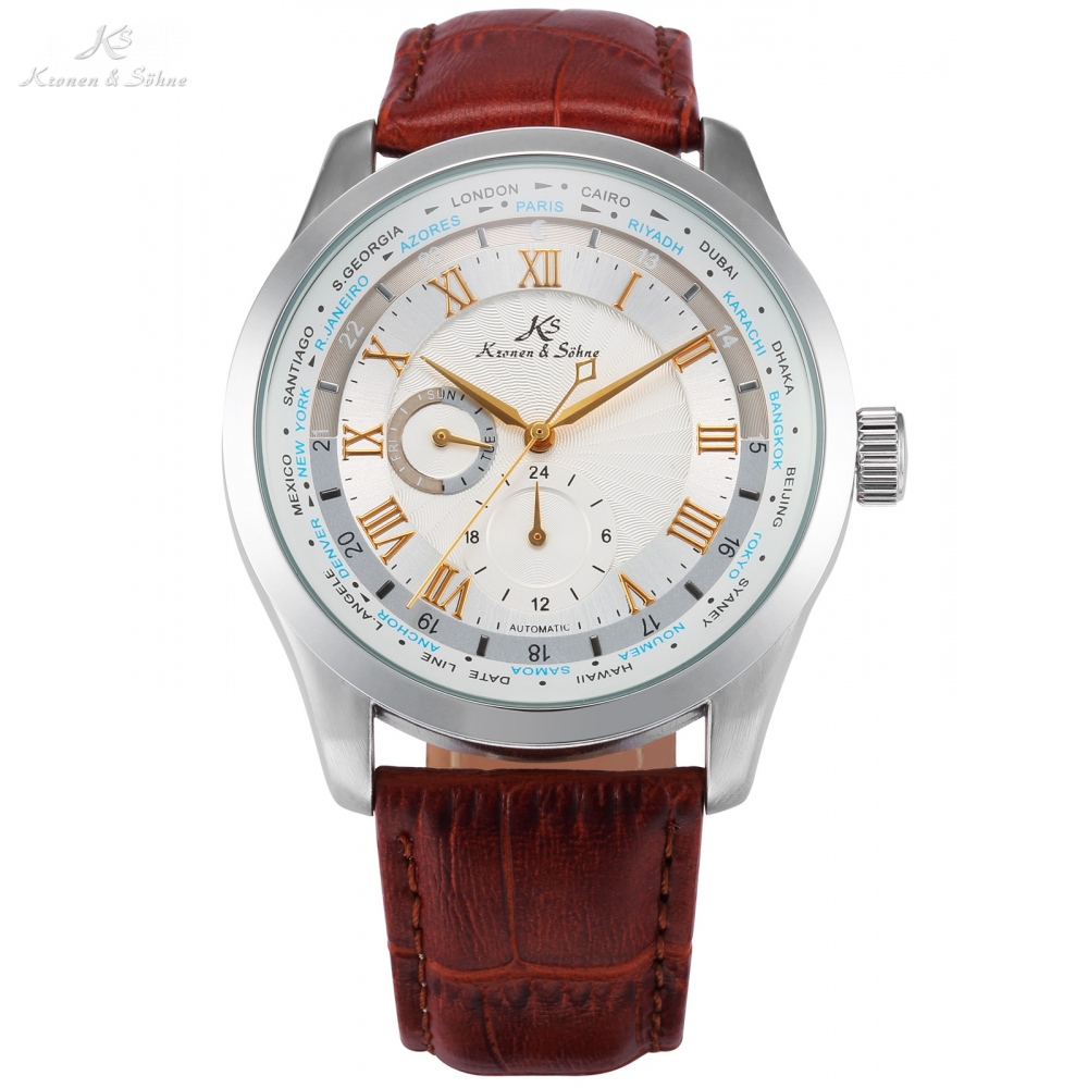 Imperial KS Automatic White Dial 24 Hour Day Roman Self Winding Relogio Brown Leather Strap Mechanical Mens Wrist Watches /KS304