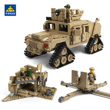 KAZI 1463Pcs building blocks M1A2 ABRAMS Military Tank Toys 1:28 MBT And 1:18 HUMMER Scale Model toys for children
