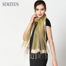 [SEMZEEN] 2016 New Fashion 95% Silk Scarf Women Scarves with 16 Solid Colors A3315