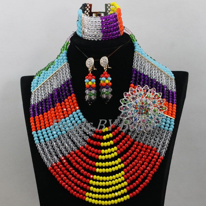 Colourful Chunky African Crystal Beads Necklace Set Nigerian Wedding Beads Jewelry Set Bridal Jewelry Sets Free Shipping ABF855