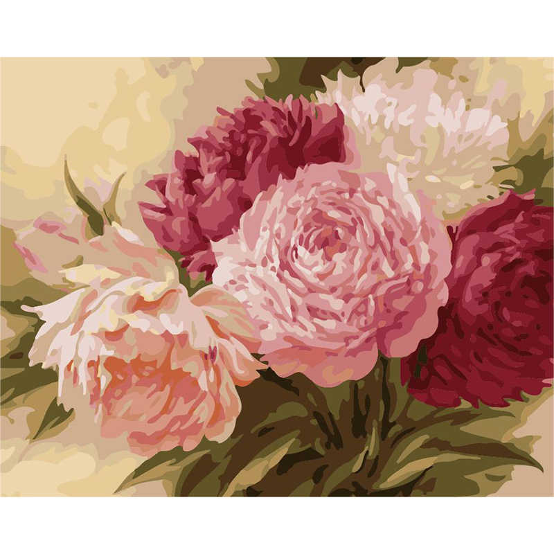peony Chinese style Flower DIY Digital Painting By Numbers Modern Wall Art Canvas Painting Unique Gift Home Decor 40x50cm
