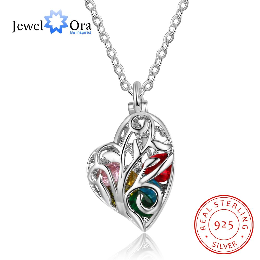Heart Hollow With Birthstone Personalized Gifts For Her 925 Sterling Silver Pendant Necklace Women Jewelry (JewelOra NE102632) stylish hollow out heart shape pendant necklace with owl for women