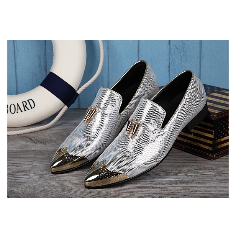 Men Shoes Pointed Toe Wedding Dress Shoes Men's Banquet Loafers Slip On Leather Casual Flats Mocassins Chaussure Homme women ladies flats vintage pu leather loafers pointed toe silver metal design