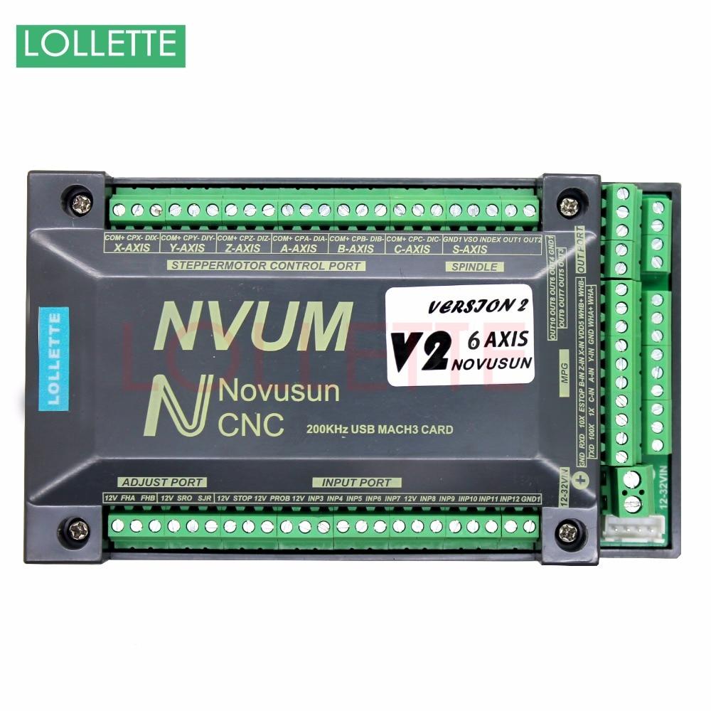 NVUM 6 Axis CNC Controller MACH3 USB Interface Board Card 200KHz for Stepper Motor недорого
