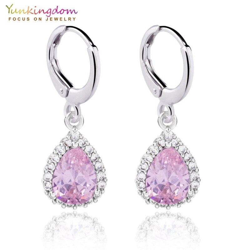 Yunkingdom pink water drop crystal zircon small drop earrings for women fashion students jewelry earring wholesale