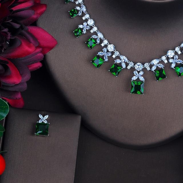 HIBRIDE étincelant vert cubique zircone ensembles de bijoux pour les femmes boucle doreille collier ensemble robe de mariée accessoires cadeaux de fête N-485
