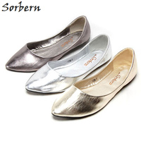 Sorbern 2018 Spring Shoes Flat Womens Shoes Flats Designer Shoes Women Luxury 2018 Gold Silver Cute