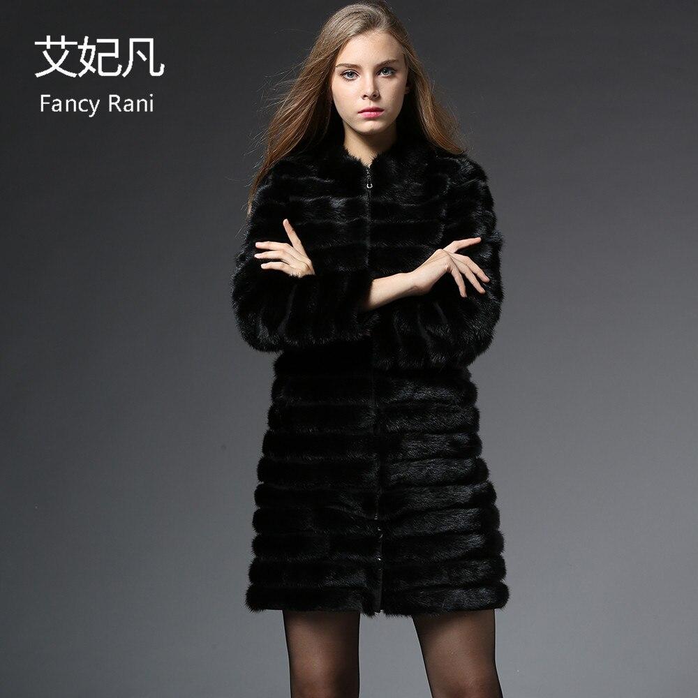 Russe long Vison Mandarin D'hiver Veste De Femmes Manteau Véritable Fourrure Stand Réel Col Naturel X Noir aBqwXxwP
