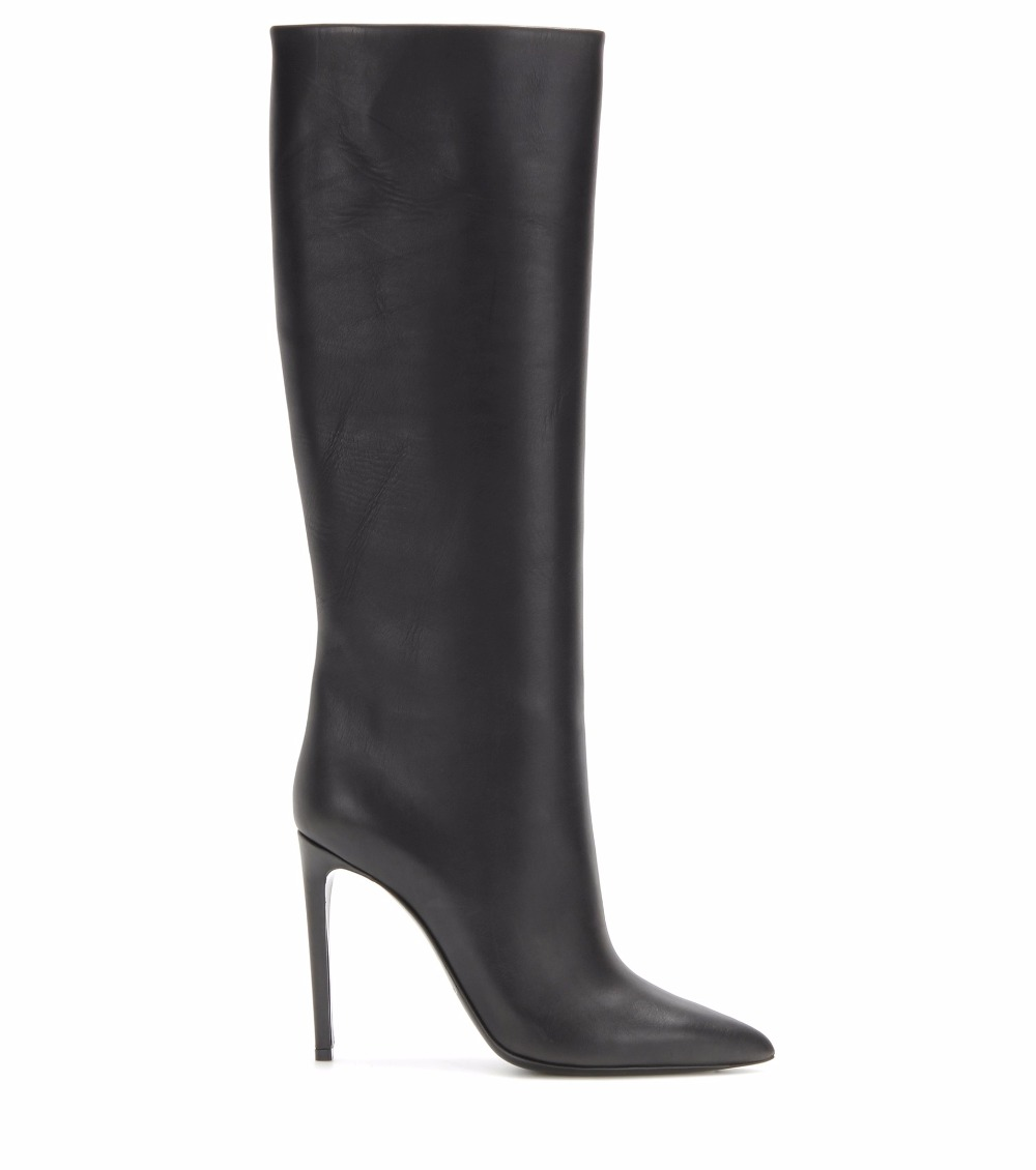 black knee high boots slip on high heel Pointed toe (1)