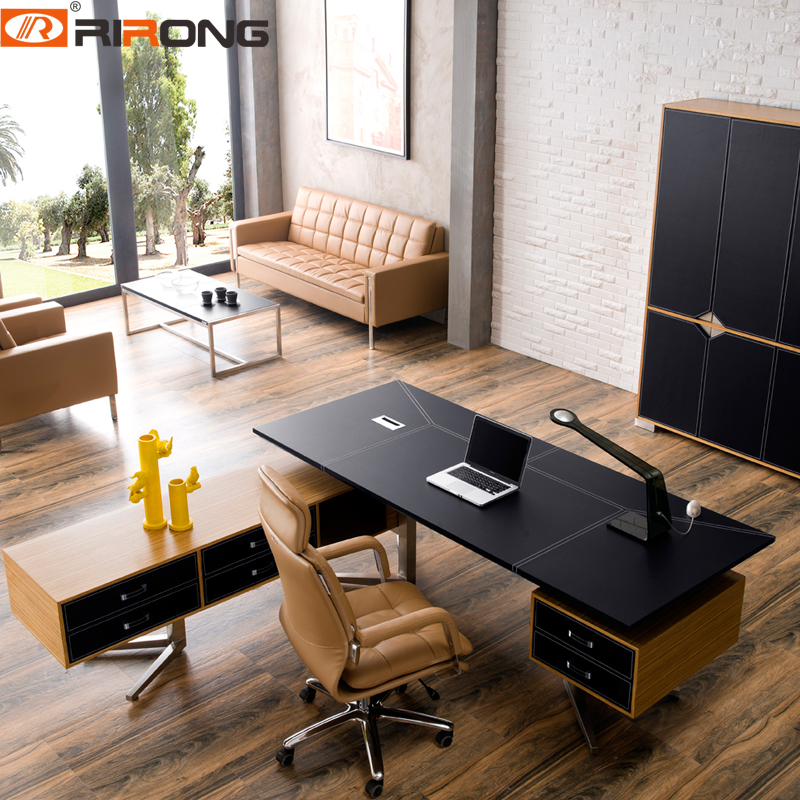 Classic Style  Black Color Leather With Wood Veneer Office Exective Ceo Home Study Boss Office Desk Table With Cabinet