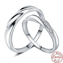 лучшая цена YKNRBPH S925 Sterling Silver Ring Men's and Women's  with Simple Rings of Zircon Rings Fashion  Lovers'