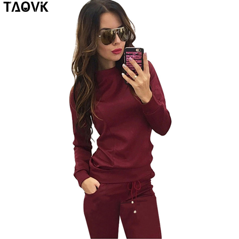 TAOVK new Russia style Women Wine red Apricot colored 2 piece Sweatshirt Long Pant Leisure Tracksuits