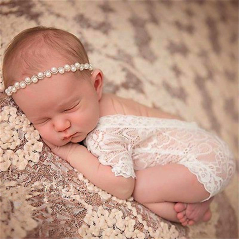 Newborn Infant Photography Props Lace Romper Baby Jumper Baby Girl Boy bebe Cloth Long Pant+Bowknot Headbands Costume 9-color