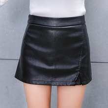 2017 New Fashion Women Faux Pu Leather Skirt High Waist Party Clothing Female Short Pencil Woman Skirts Black Sexy Mini Skirt